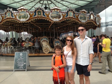 Kids at Jane's Carousel in Brooklyn Bridge Park