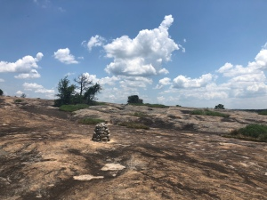 Stone made Cairn marking the way up Arabia Mountain, Georgia