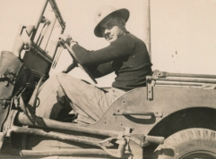 Historic family photo soldier in Jeep Hood Marine