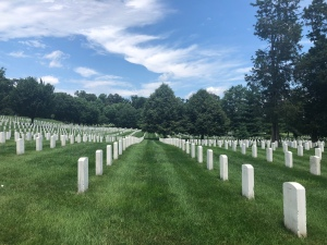 Rows of white tombstones at Arlington National Cemetery