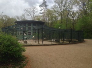 The aviary in the forest on Pfaueninsel, Peacock Island, Germany