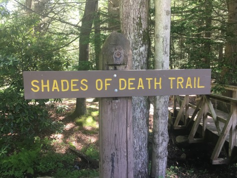 Shades of Death Trail sign at Hickory Run State Park, Pennsylvania