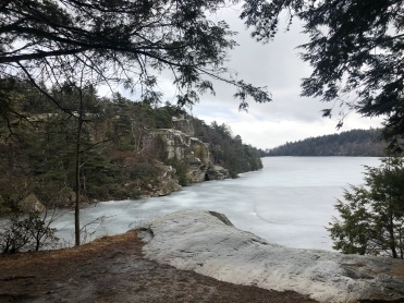Frozen Lake Minnewaska from the forest trail, State Preserve, New York