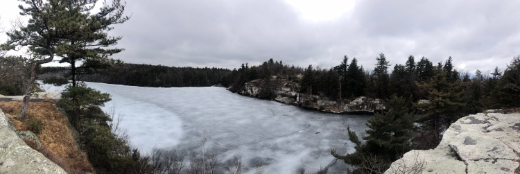Panoramic of frozen Lake Minnewaska, New York State Preserve