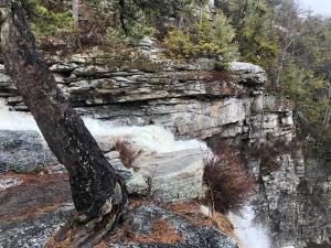 Top view Awosting Falls, quartz
