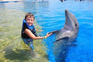 boy and bottlenose dolphin doing flipper handshake, Marineland, Florida