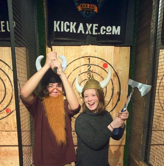 Two Viking costumed at Kick Axe Throwing
