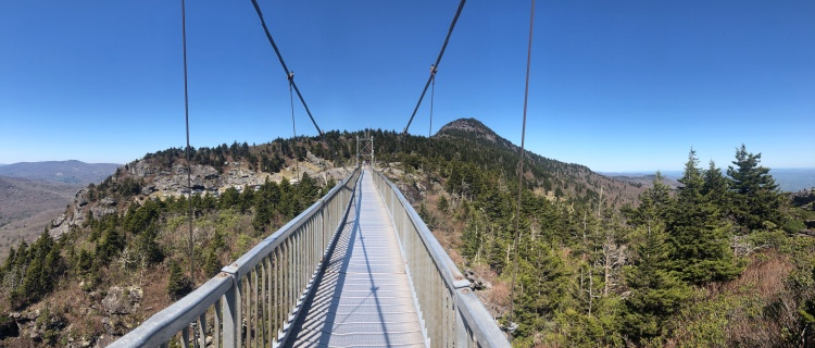 View Grandfather Mountain from Mile High Swinging Bridge, North Carolina