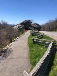 Paved path to Split Rock, split rail fence, Grandfather Mountain, North Carolina