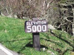 Roadside sign, Elevation 5000', Grandfather Mountain. North Carolina