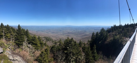 View from Mile High Swinging Bridge panoramic, Grandfather Mountain, North Carolina