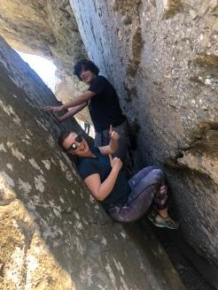 two people wedged in Split Rock, Grandfather Mountain, North Carolina