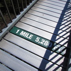 Marker on Mile High Swinging Bridge, Grandfather Mountain, North Carolina