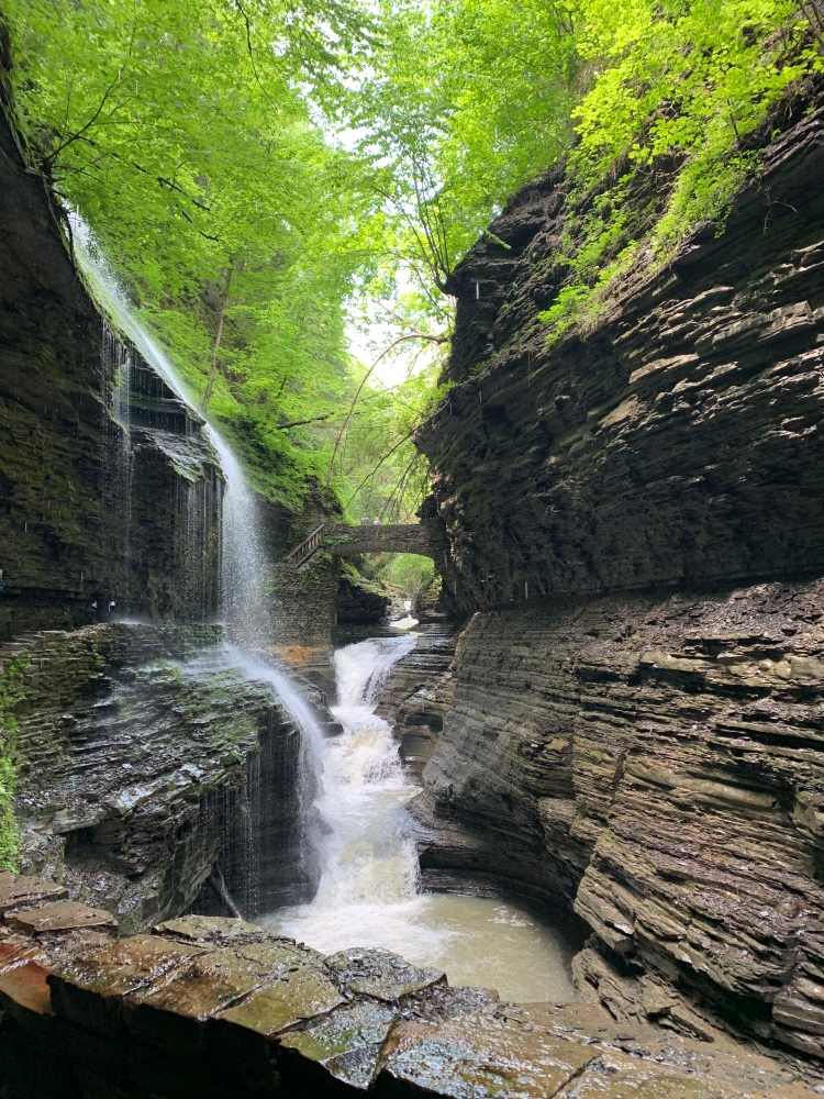 View of Rainbow Falls from the front of the Gorge Trail at Watkins Glen State Park, New York