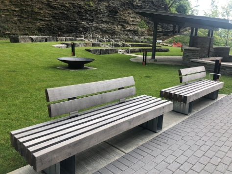 Man made park at entry to Watkins Glen State Park, New York