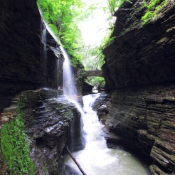 View of Rainbow Falls at Watkins Glen State Park, New York