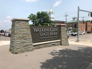 Welcome at entry of Watkins Glen State Park, New York