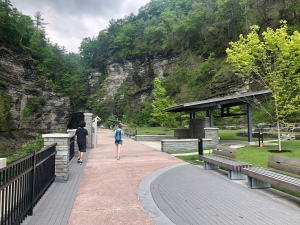 Park path to the Gorge Trail at Watkins Glen State Park, New York