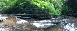 Havana Glen Park, Montour Falls, New York, stream from the falls