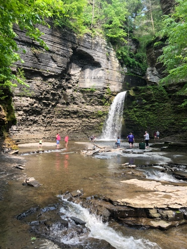 Families playing Havana Glen Park, New York, waterfall