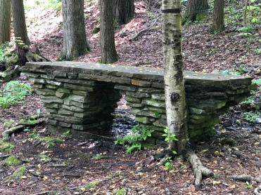 Forest Trail Stone Bench at Watkins Glen State Park, New York