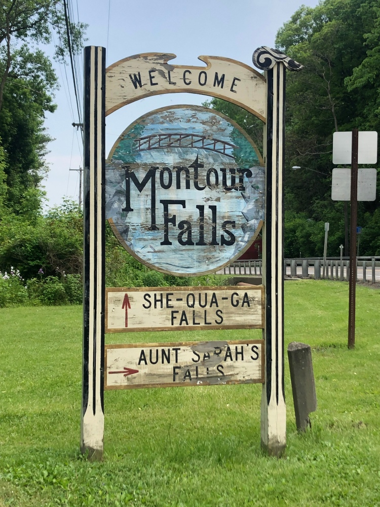 Montour Falls wooden road sign, New York