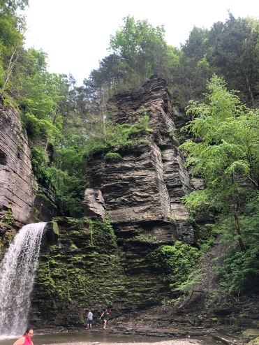 High Cliff wall & waterfall at Havana Glen Park, New York