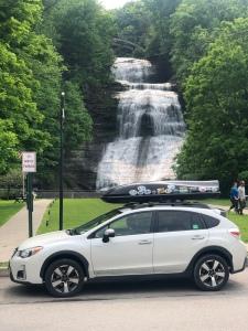 Subaru crosstrek parked at She-qua-ga Falls, Montour Falls, New York