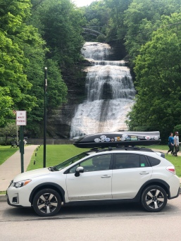 Subaru crosstrek parked at She-qua-ga Falls, Montour Falls, New York
