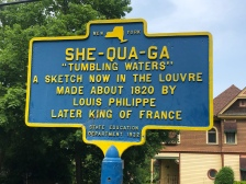 Educational sign for She-qua-ga Falls, Montour Falls, New York