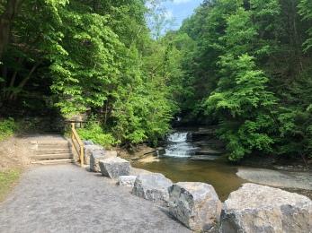 Start of trail to Eagle Cliff Falls at Havana Glen, New York