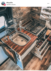 Personal kitchen of @greenvanlife van life culture