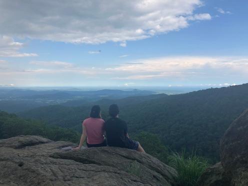 Siblings sitting at Hazel Mountain Overlook,