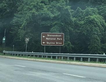 Highway road sign for Shenandoah National Park, VA