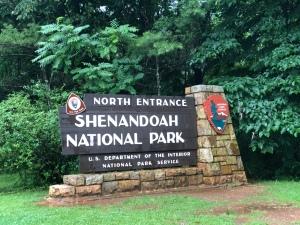 North entrance Sign for Shenandoah National park, VA